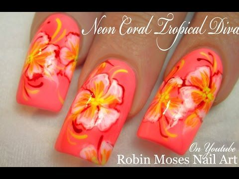 Neon Hot Bright Coral Diva Nails Yellow Flowers Nail Art Design