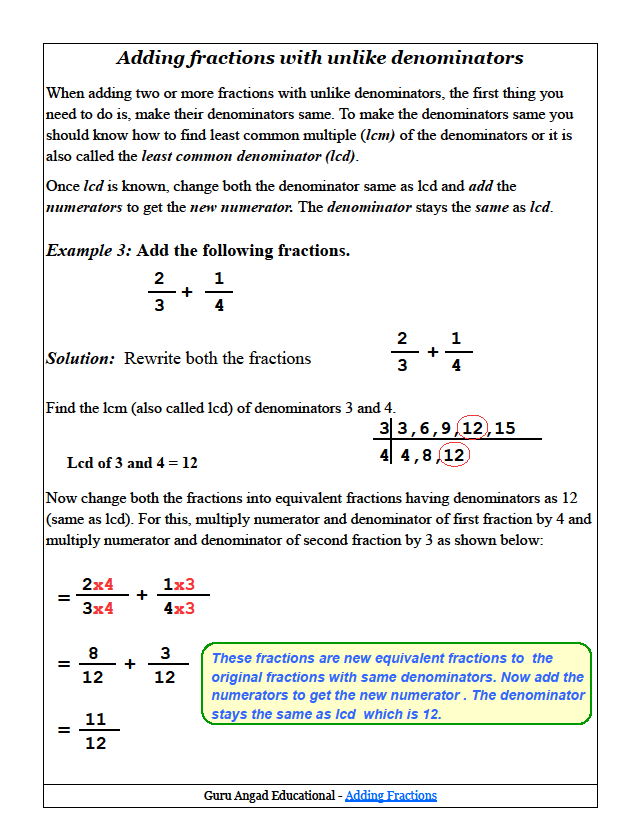 Step by step lesson to learn how to add fractions with unlike how to add fractions with unlike denominators common core math grade add and subtract fractions with unlike denominators ccuart Images