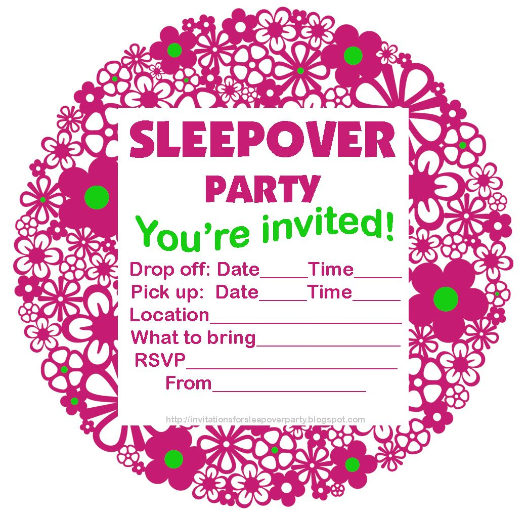Free Printable Sleepover Party Invitations