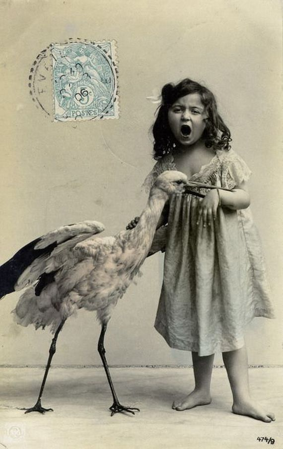 Bitten by the stork. Ca. 1890