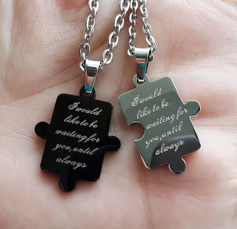 7ef51976d2 Jigsaw Puzzle Connecting His and Hers Pendants for 2 Personalized Couples  Gifts | His Her Necklaces and Bracelets | Engraved Wedding Rings | Couples  ...