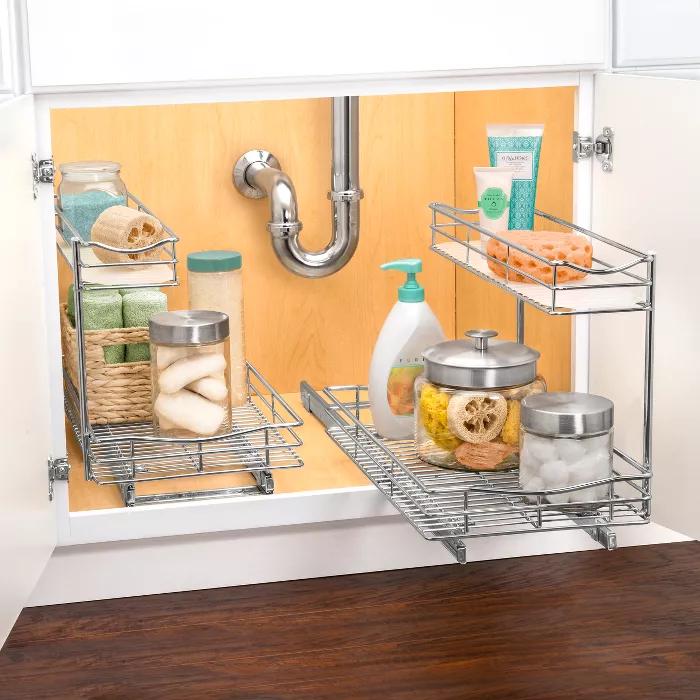 Link Professional 11 5 X 18 Slide Out Under Sink Cabinet Organizer Pull Out Two Tier Sliding Shelf Kitchen Storage Hacks Bathroom Organization Diy Diy Bathroom Storage