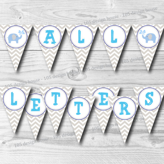 Instant Download Chevron Banner Printable With All Letters Create