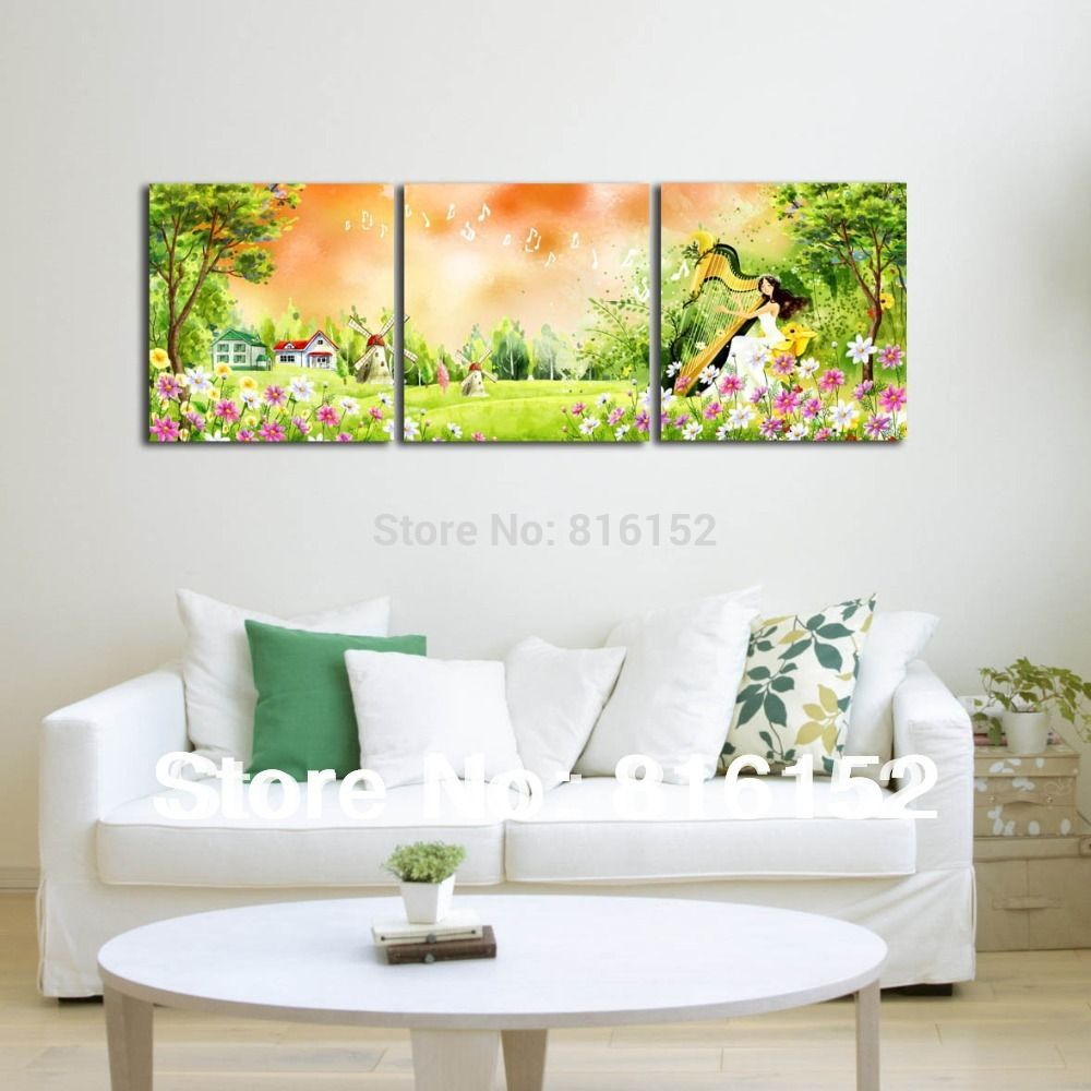 Find More Information about Forest Harp Fairy Multi Panel Paintings ...