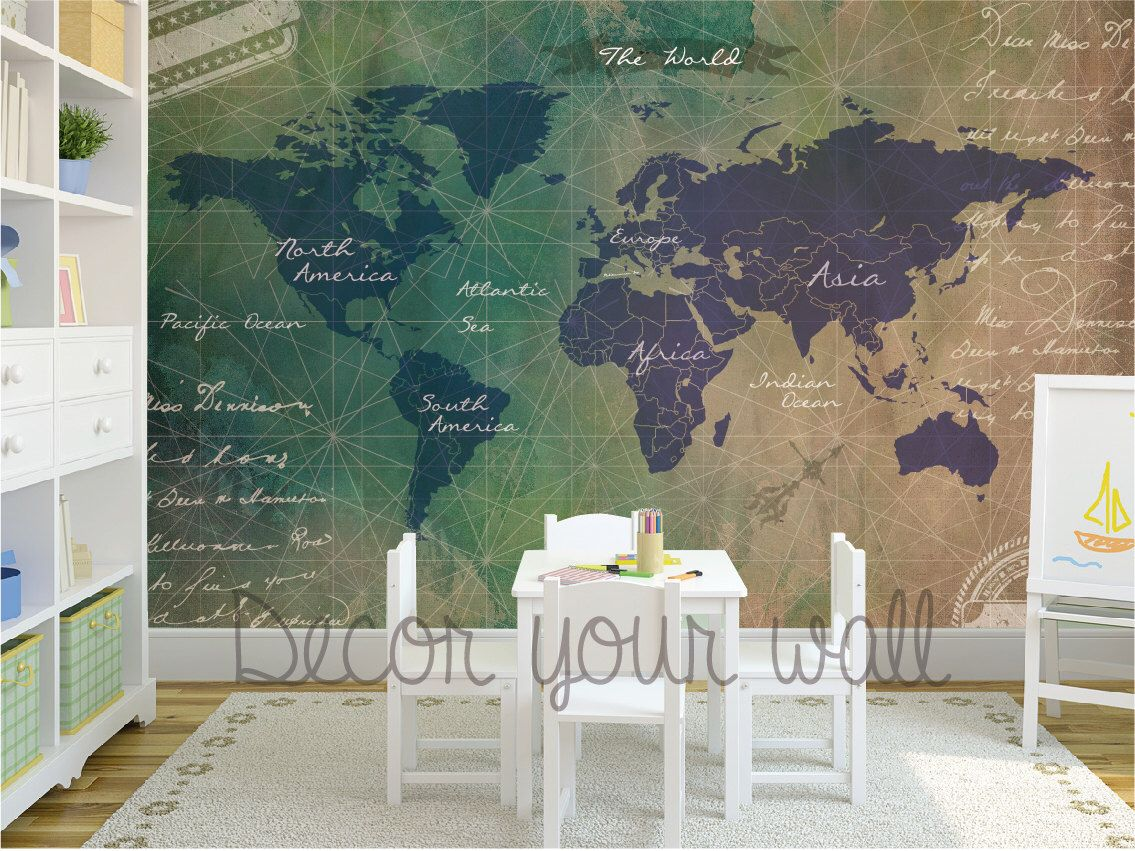 Self adhesive wallpaper removable wallpaper world map wall mural self adhesive wallpaper removable wallpaper world map wall mural by decoryourwall on etsy gumiabroncs Gallery