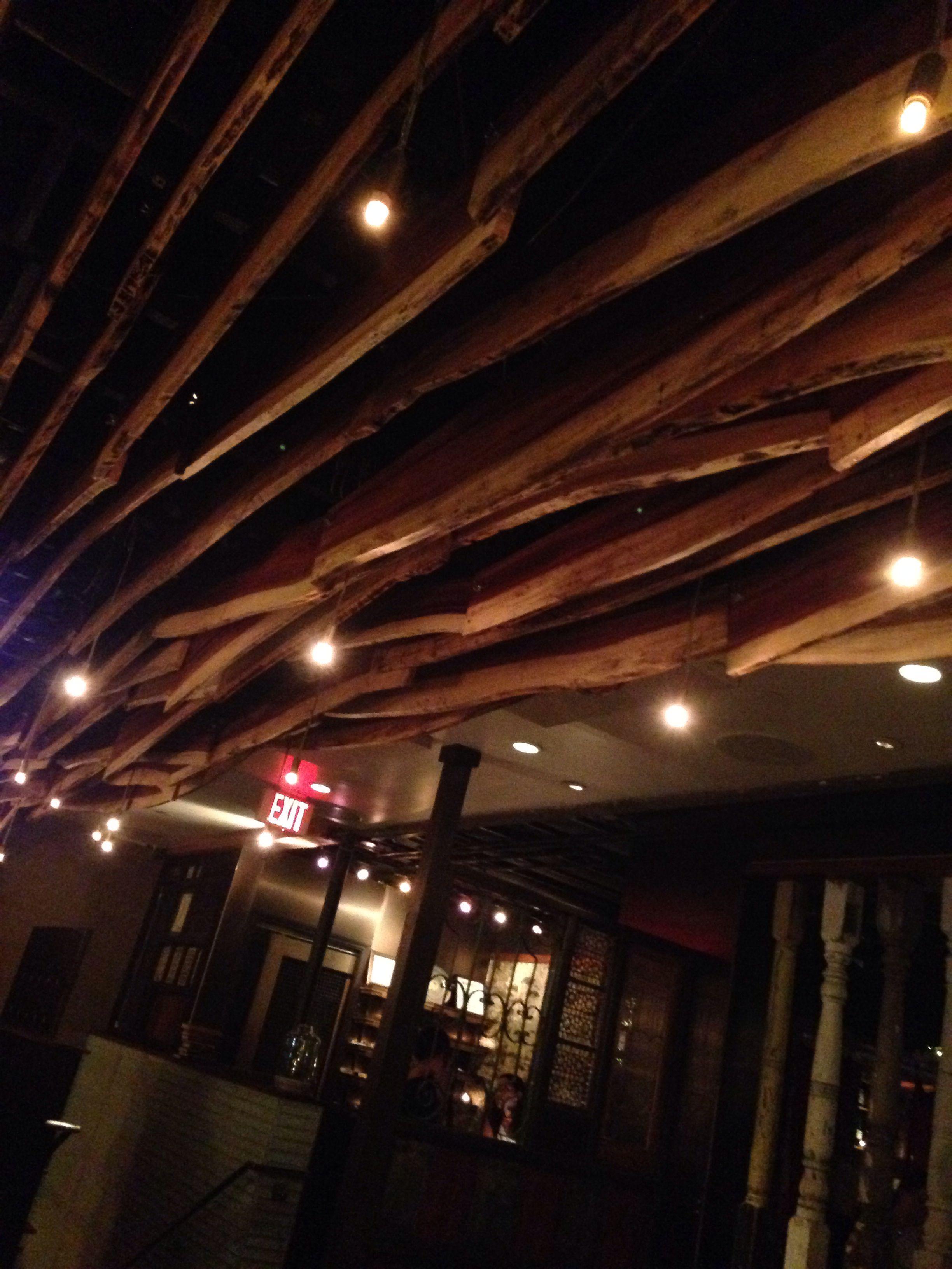 wood plank ceiling light installation prep kitchen little italy san diego - Prep Kitchen Little Italy