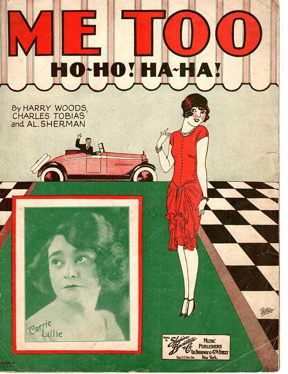ME TOO Ho-Ho! Ha-Ha! Roaring 20's Sheet Music 1926 by Harry Woods with Carrie Lillie Sleepy Head