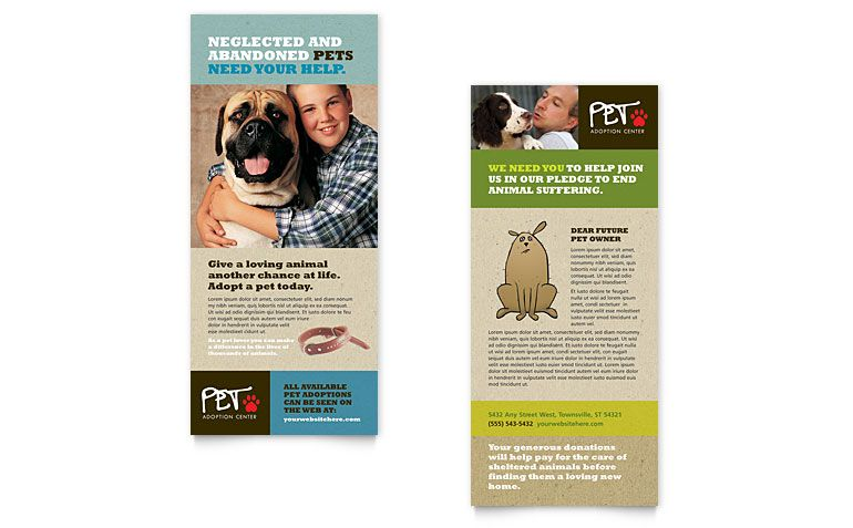 Animal Shelter  Pet Adoption Postcard Template Design