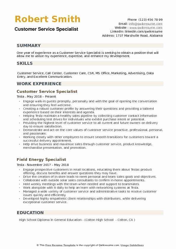 Customer Support Specialist Resume Inspirational Customer Service Specialist Resume Samples