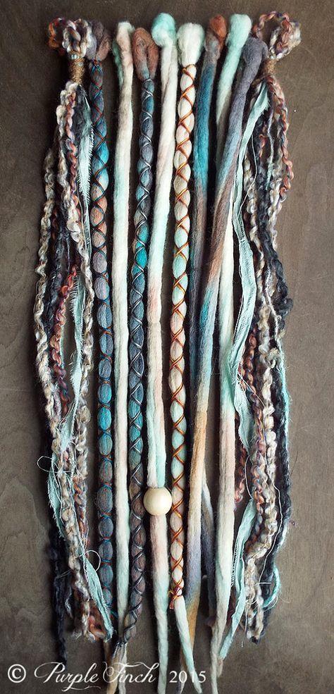 10 mixed sand tie dye wool synthetic dreadlock clip in