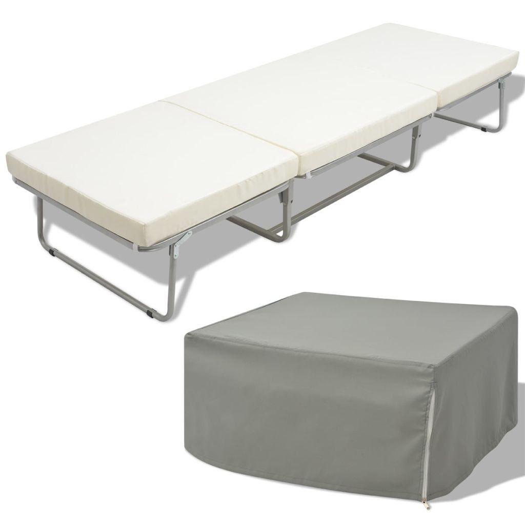 Vidaxl Lit Tabouret Pliant Avec Matelas Lit De Camping 200 X 70 Cm Acier In 2020 Outdoor Furniture Outdoor Decor Outdoor Ottoman