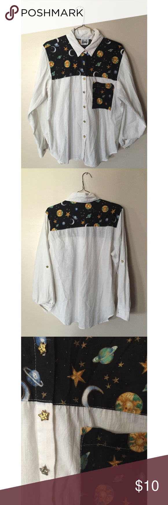 Vintage Space Sun and Stars Button Up Cute vintage outer space pattern with the sun and galaxies. The buttons dare stars and its in good shape. Fits a medium/ large. Let me know if you have any questions! 😊 Vintage Tops Button Down Shirts