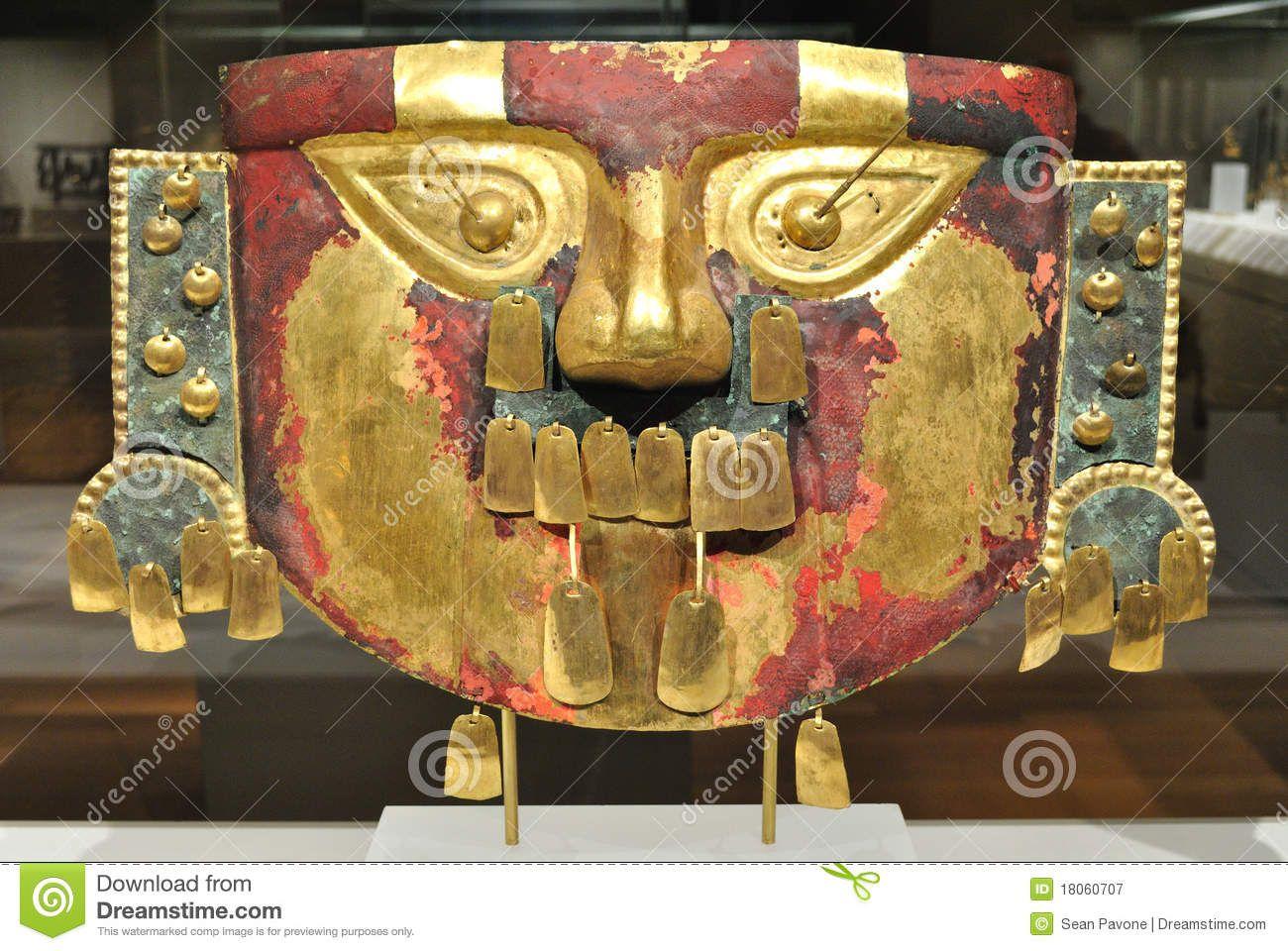 Máscara antigua del inca del oro fotografía editorial imagen