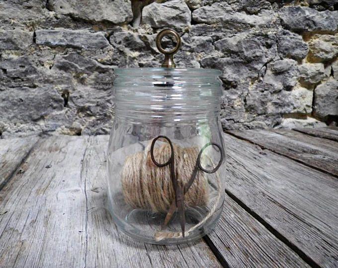Bocal en verre avec son ancien anneau laiton - Décoration steampunk