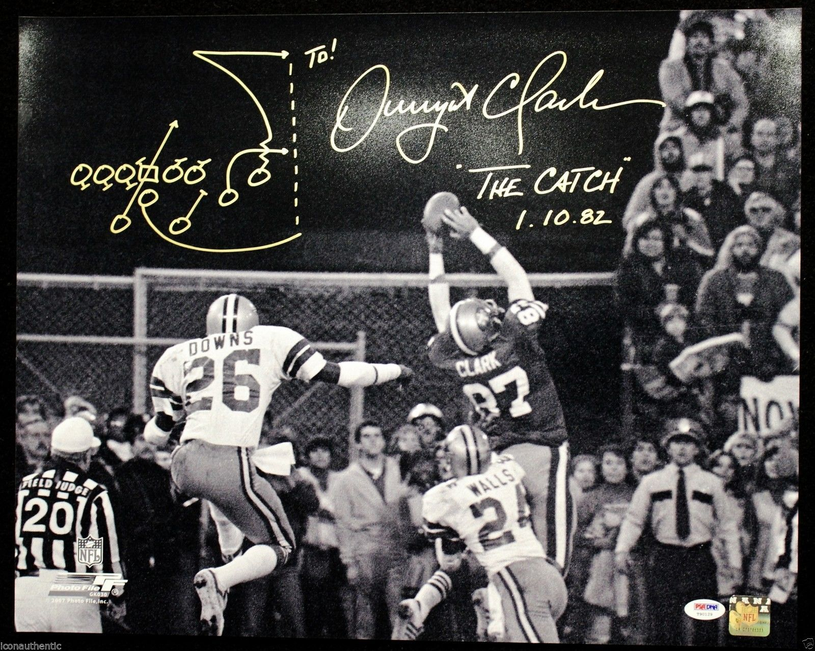 db0c71806 Dwight Clark Signed Autographed 16x20 49ers Catch Drawn PSA