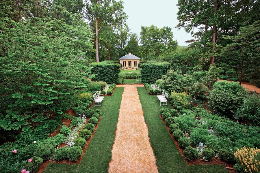 Classical Virginia Garden ~ A proper upbringing is one way to describe garden design tradition in Virginia. Its symmetrically planned allées and vista views have a pedigree back to the ancients. Who can argue with several millennia of success or Jefferson's own lasting local touch?