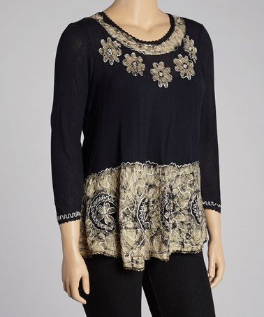 Take a look at this White & Black Floral Embroidered Tunic by India Boutique on #zulily today!