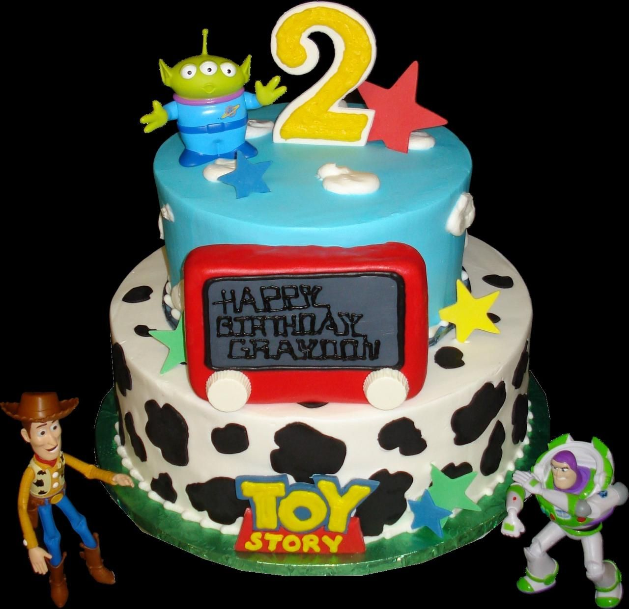 Toy Story 2nd Birthday Cake Blue And White Buttercream
