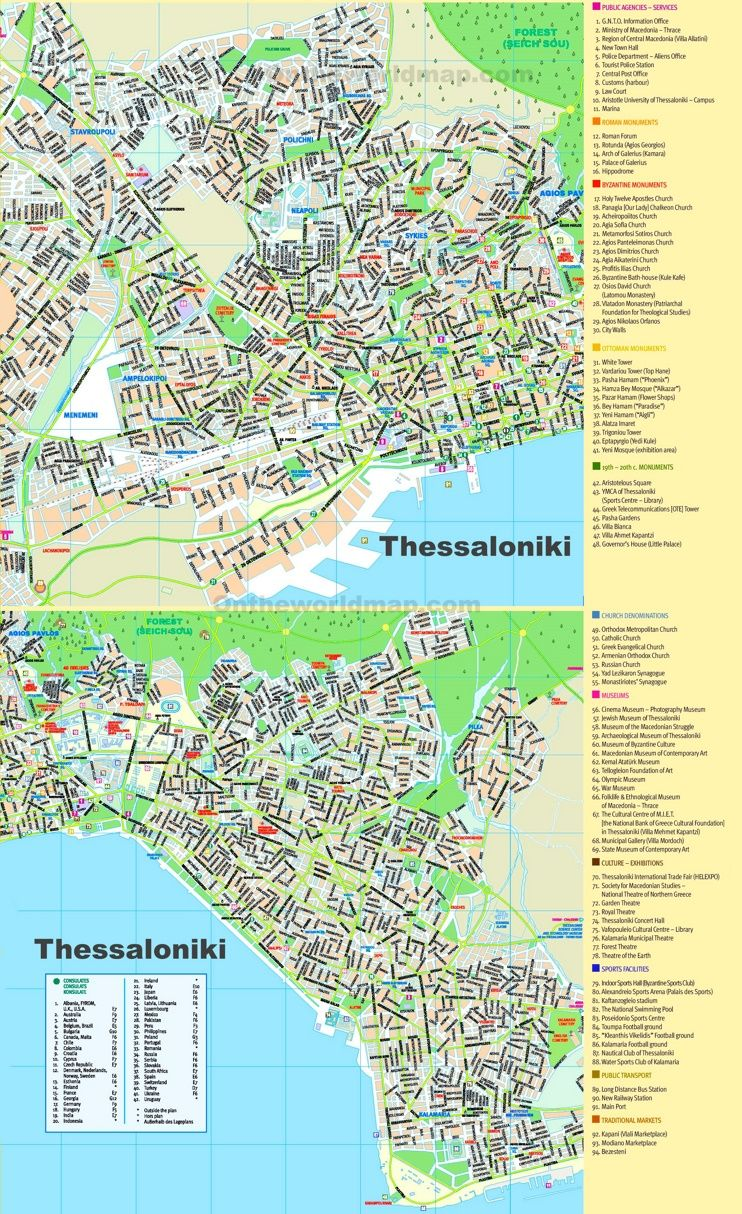 Thessaloniki sightseeing map Maps Pinterest Thessaloniki and City