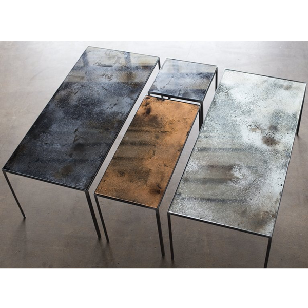 Notre Monde | Charcoal Patchwork Coffee Table   20711   Heavy Aged Mirror  Top   Metal