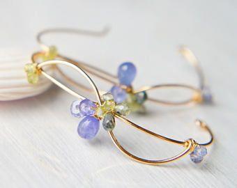 Tanzanite Sapphire Earrings, Blue and Green Gemstone Earrings, Gold Large Hoop