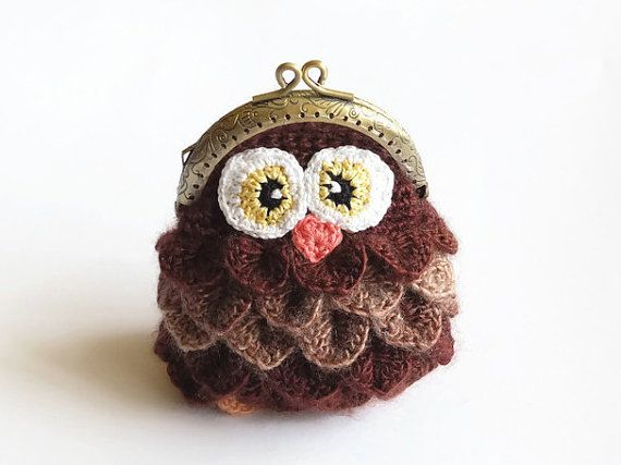 Crochet Crocodile Stitch coin purse - Owl Coin purse - Crocodile ...