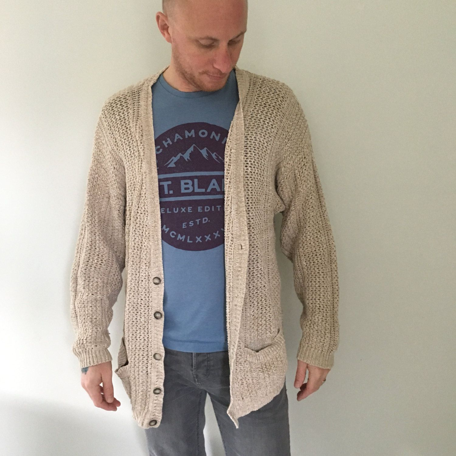 Bulky Cardigan, Linen and Cotton, Chunky Oversized Cardigan ...
