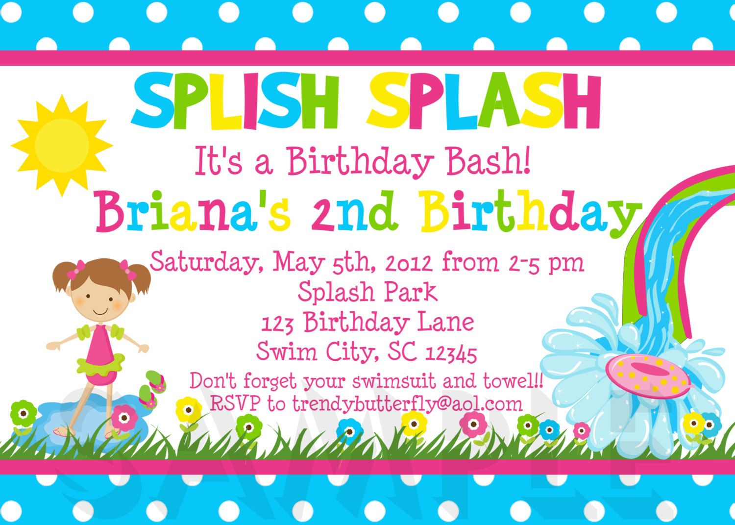 Pool Party Birthday Invitation Waterslide Birthday Invitation – Kids Birthday Invitations Printable