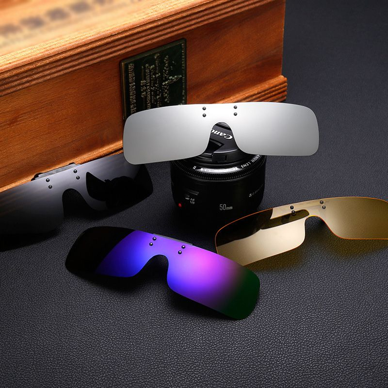 Integrated Polarized Clip On Driving SUNGLASSES Night Vision Glasses UV400 oculos de sol gafas 6 Colours For Eyeglasses Wearer
