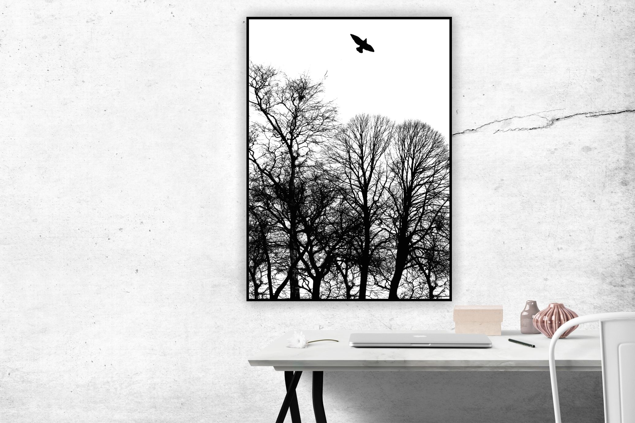 Poster vögel baum skandihome skandinavischer stil wandgestaltung