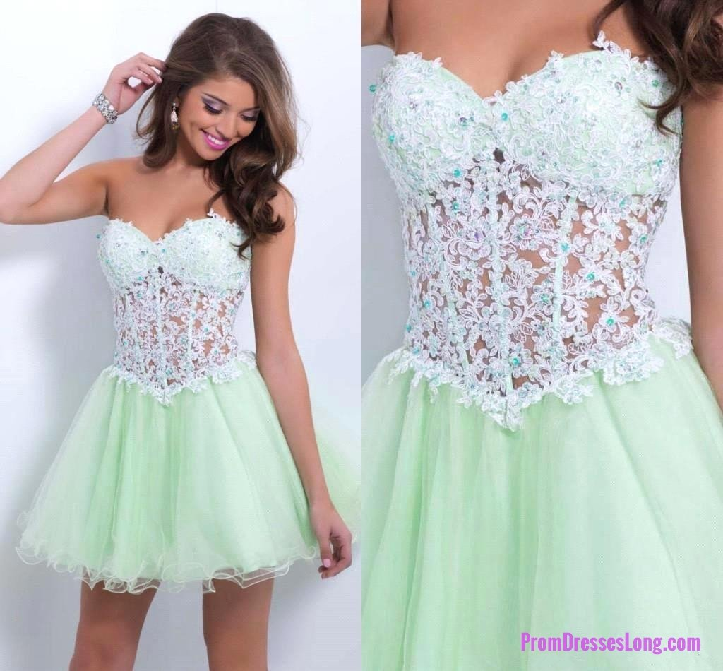 Tulle homecoming dresslace homecoming dressmint green homecoming