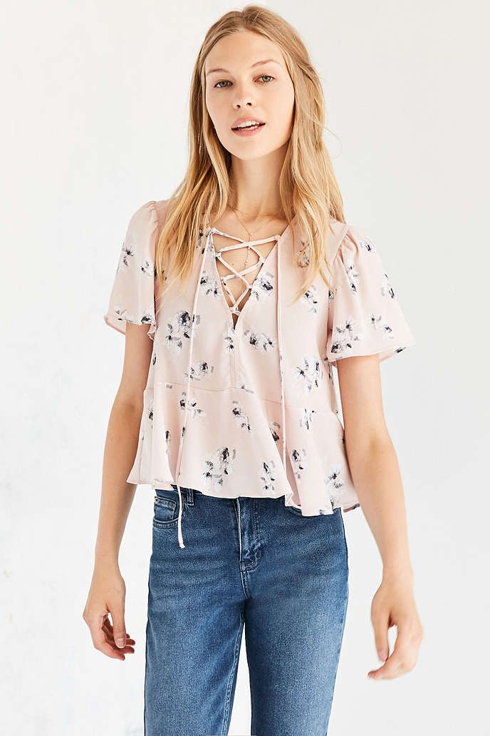 6602a4aff70210 Kimchi Blue Judy Lace-Up Flutter-Sleeve Blouse | clothes | Blouse ...