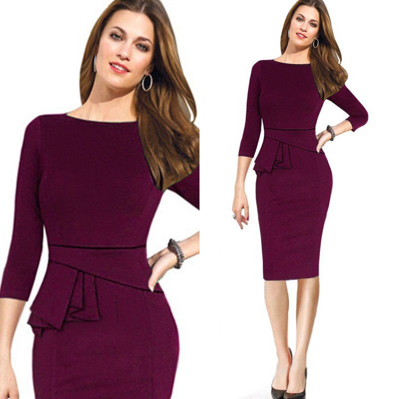 a878f15bcf Autumn Winter Women Dress Three Quarter Sleeve Women Work Wear Dress  Bodycon Pencil Ladies Formal Business Office Dress B228-Dress-SheSimplyShops