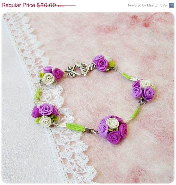 Tender romantic handmade Charm Bracelet with purple by IrenkaR, $26.70