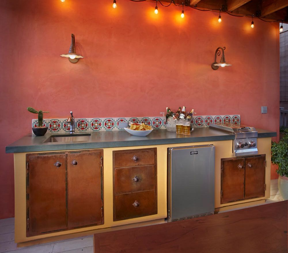 Kitchen Cabinets Tucson: Rustic Mexican Outdoor Kitchen, Green Slate Countertop