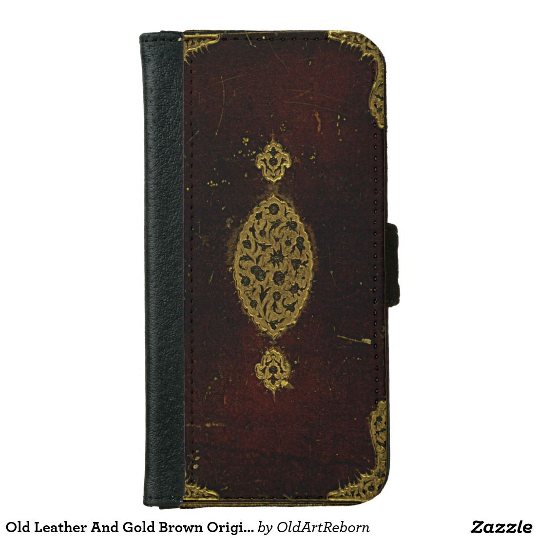 Old Leather And Gold Brown Original Book Cover iPhone 6 Wallet Case