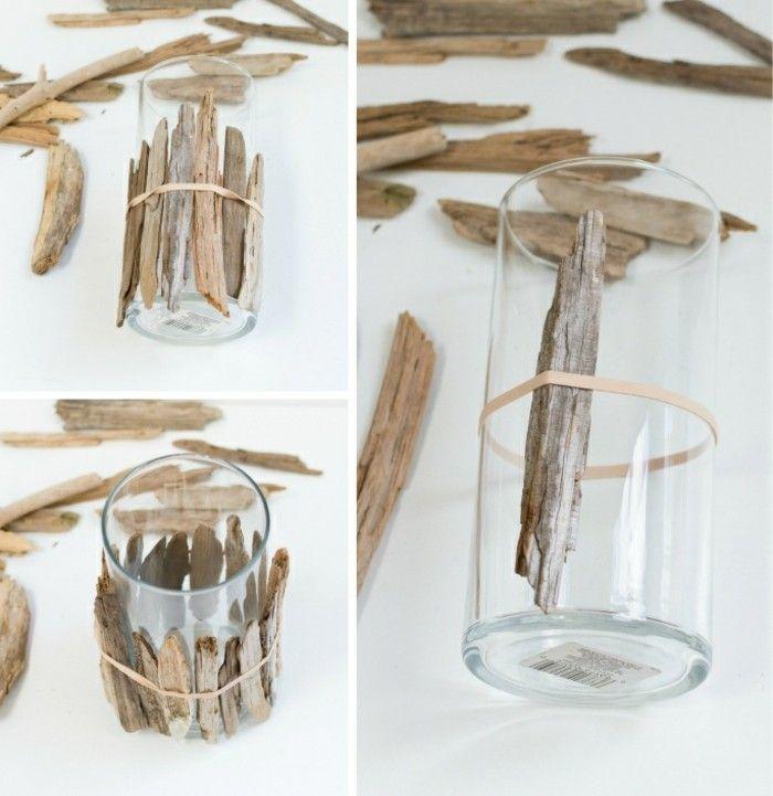 7 Treibholz Deko Glasvase Mit Holz Dekorieren Diy Idee Dekoartikel Selber  Machen