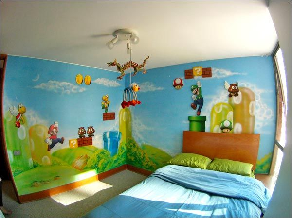 super mario bros bedroom pretty sure i can con my husband into setting this up