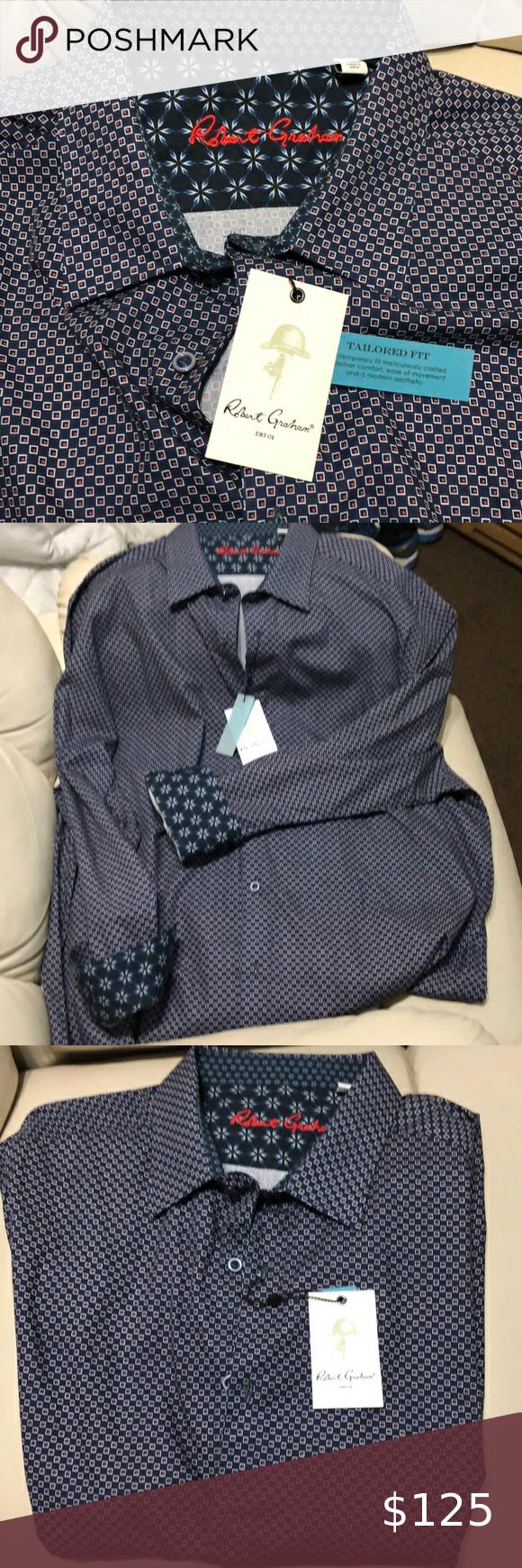 Robert Graham Blue Check Designer Dress Shirt Nwt Nwt In 2020 Designer Dresses Mens Shirt Dress Blue Check