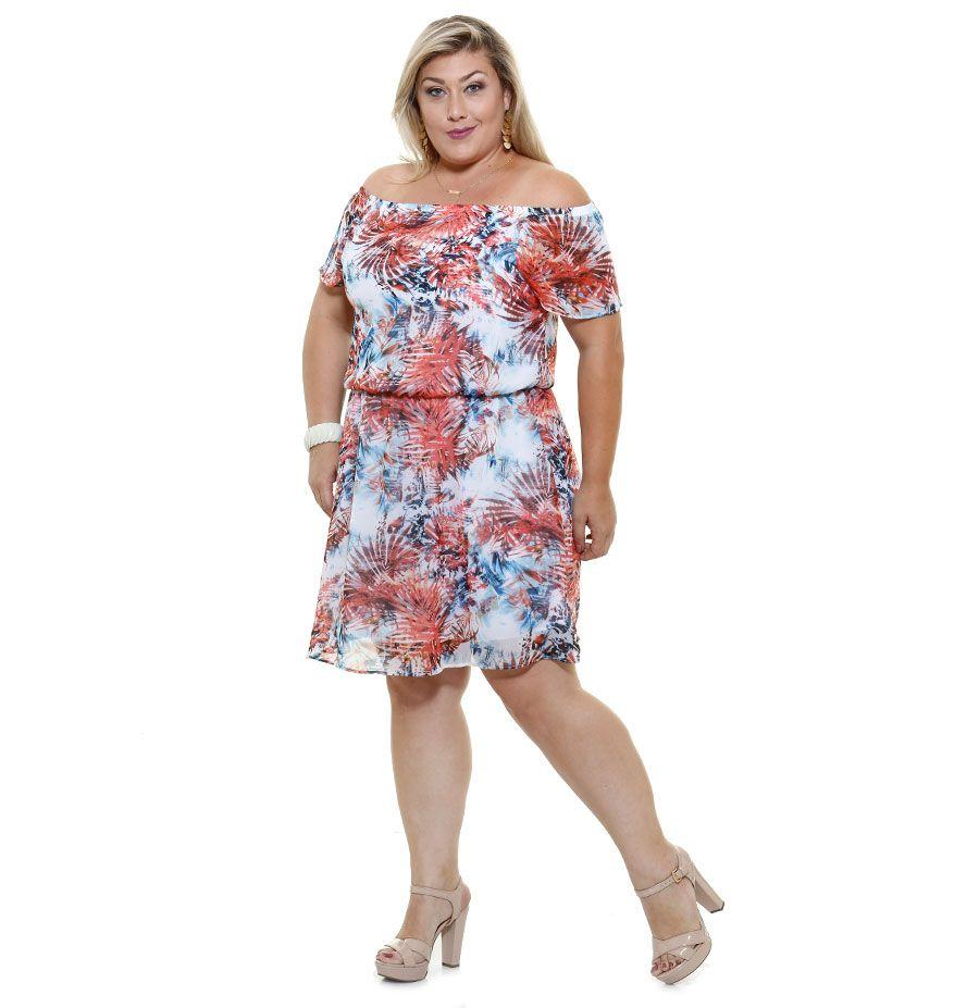 3b19414cdc Vestido Feminino chiffon Ciganinha Tamanho Especial Marisa. Vestido feminino  tamanho especial confeccionado em tecido chiffon com estampa de folhas.