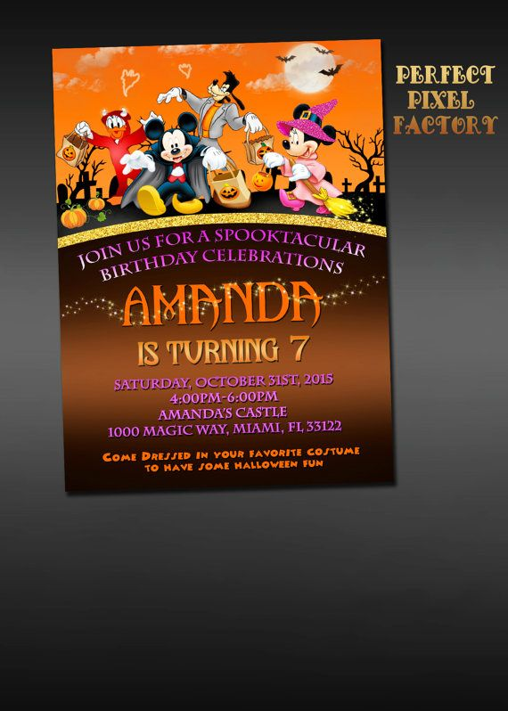 Mickey & Minnie Mouse HALLOWEEN INVITATION by PerfectPixelFactory