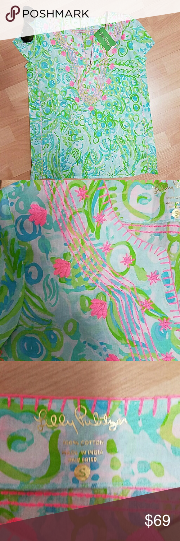 NEW Lilly Pulitzer Sea Breeze Tunic pool blue NEW LILLY PULITZER Sea Breeze Tunic size S Any Fins Possible pool blue with pink embroidery  Resort ready, 100% cotton Lilly Pulitzer Tops Tunics