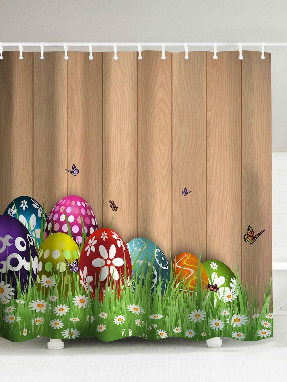 Easter Colorul Eggs Mouldproof Shower Curtain Light Brown 180