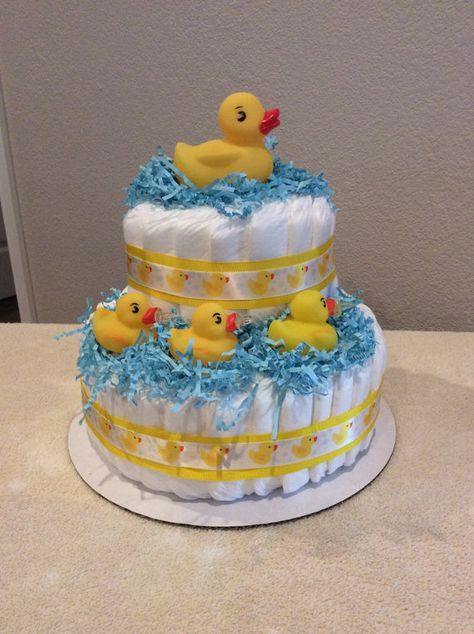 Duck Diaper Cake W Goodies Inside Baby Shower Duck Duck Diapers