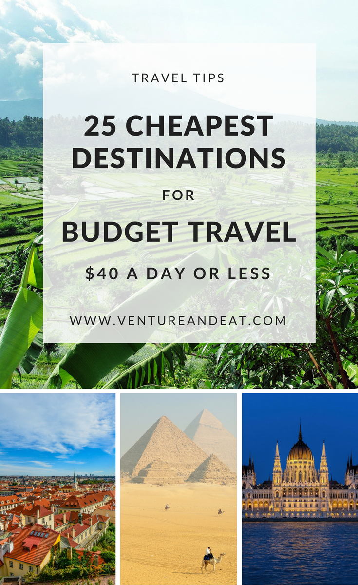 Budget Travel Destinations   Cheap Destinations   Can't decide where to go next, but on a budget? Don't worry. I've compiled 25 of the cheapest destinations that won't break the bank. These destinations are $40 a day or less and include a few surprise cities! Your money will go a long way in these destinations!