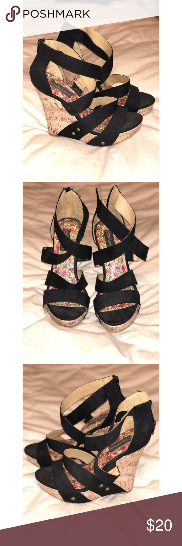 """Diva Lounge Wedges Diva Lounge cork wedges. Size 7 but fit like a 7 1/2. Has a 4"""" heel. Zips up the back. Good condition. diva lounge Shoes Wedges"""