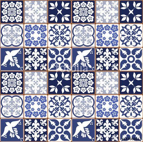 Abstract Antique Arabesque Azulejo Azulejos Background Blue - Portugiesische fliesen azulejos