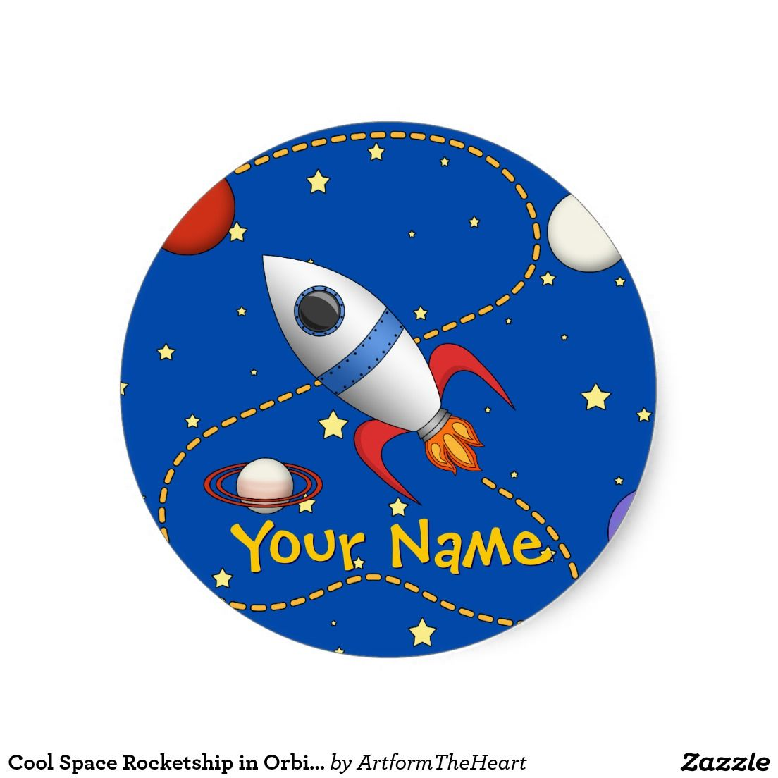Round Name Label 3 Sizes Outer Space