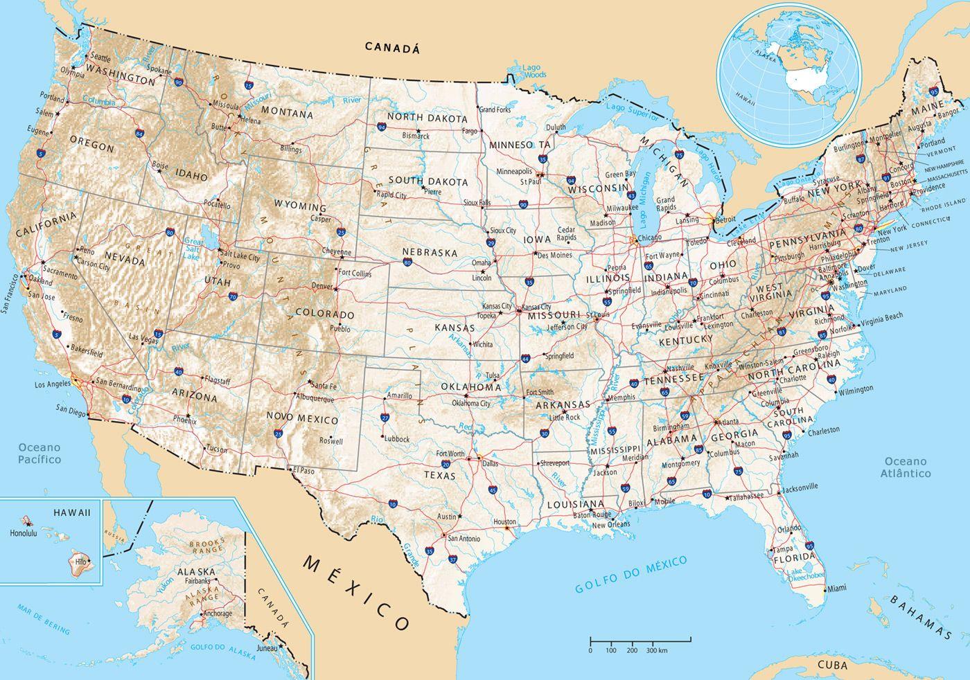 Mapa Estados Unidos Mapas Pinterest - Mapas usa