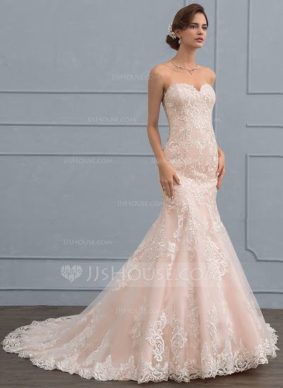US$ 289.99] Trumpet/Mermaid Sweetheart Court Train Tulle Lace ...